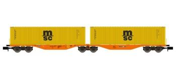 Modélisme ferroviaire : REE NW-099 - Wagon Port-Container double Ep.V-VI