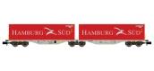 Modélisme ferroviaire : REE NW-100 - Wagon Port-Container double Ep.V-VI