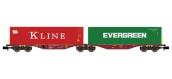Modélisme ferroviaire : REE NW-102 - Wagon Port-Container double Ep.V-VI