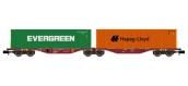 Modélisme ferroviaire : Sggrss 80 Touax Bordeaux + 1 Container EVERGREEN et 1 Container HAPAG-LLOYD