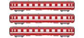 Modélisme ferroviaire : COLLECTION R37 ; R37-HO41015RS Remorque XR BD 9204 DCC (rouge crème) Ep IIIb REE VB-105 - Coffret de 3 voitures UIC Ep.IV Livrée Rouge.