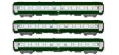 Modélisme ferroviaire : REE VB-122 - Coffret de 3 voitures UIC Vert Garrigue / Gris Béton Ep.IV-V.