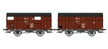 Train électrique : REE WB-299 - Set de 2 Wagons COUVERT 20T PLM Ep.II - PLM