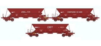 Train électrique :REE WB-310 - Coffret de 3 WAGONS TREMIE EX T2/T3 Ep.IV «ARBEL FER / MIDI ARBEL / CRFF »