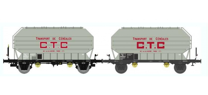 Train électrique : REE WB-323 - SET de 2 Wagons Céréaliers FRANGECO B Ep.III «CTC»