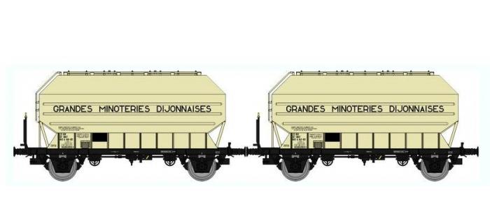 Train électrique : REE WB-327 - SET de 2 Wagons Céréaliers FRANGECO B Ep.IV-V «GRANDES MINOTERIES DIJONNAIS »