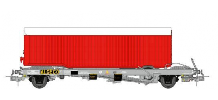 Train électrique : REE WB-336 - Wagon KANGOUROU Ep.III et remorque Rouge tôlé simple essieu