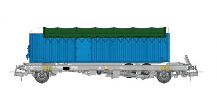 Train électrique : REE WB-340 - Wagon KANGOUROU Ep.IV avec remorque Bleue bâche verte double essieux