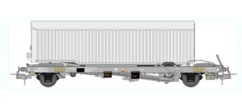 Train électrique :  REE WB-344 - Wagon KANGOUROU Ep.III + Remorque Argenté tôlé simple essieu