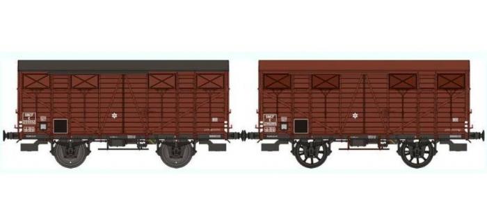 REE WB253 - Réf. WB-253 - Set de 2 Wagons COUVERT OCEM 19 Ep.III B