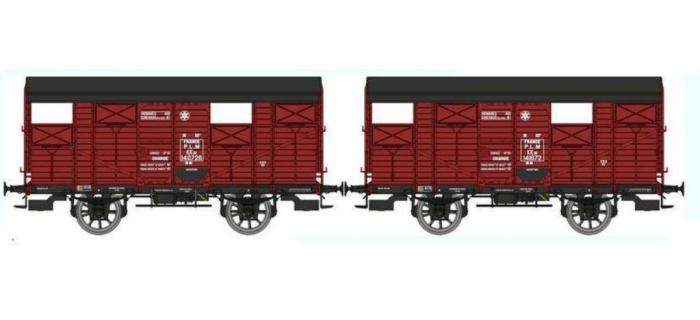 REE WB263 -  Set de 2 Wagons COUVERT PLM Ep.II - PLM