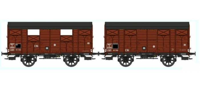 REE WB267 - Set de 2 Wagons COUVERT PLM Ep.III B