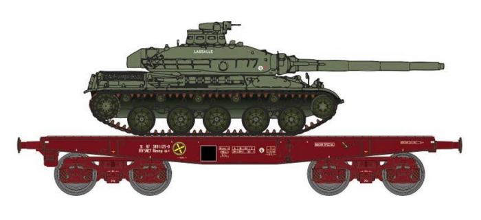 Modélisme ferroviaire : REE WBA-010 - Wagon Porte-char Rlmmp + Char AMX 30B - 1DB 6ème Dragons 3ème Esc