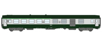 Modélisme ferrovaire : REE VB-159 - Voiture UIC Vert Garrigue / Gris Béton Ep.IV-V.