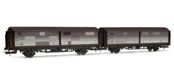 RIVAROSSI HR6081 coffret 2 wagons couverts portes coulissantes type Hbis299, patiné, DB TRAIN ELECTRIQUE