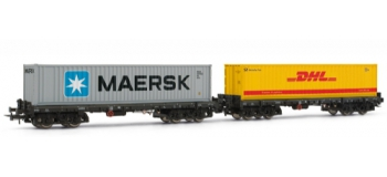 Rivarossi HR6085 Coffret 2 wagons pour container Sgmmns 738 (Maersk+DHL), DB*