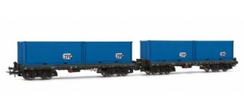 Set 2 wagons plat Sgmmns738 chargés avec container TFG, DB*