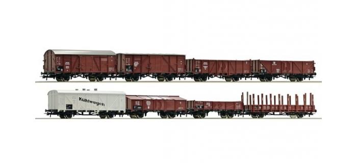 Train électrique : ROCO R44003 - ensemble de wagons de marchandises, DRG 8 pièces