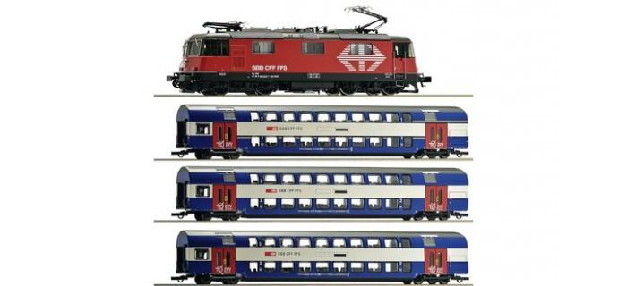 Modélisme ferroviaire : ROCO R61444 - Coffret train locomotive électrique Re 420 des CFF avec un train de banlieue