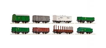 Train électrique : ROCO R67147 - Coffret de 8 wagons marchandises SNCB