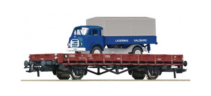 Train électrique : ROCO R67269 - Wagon plat + camion OBB