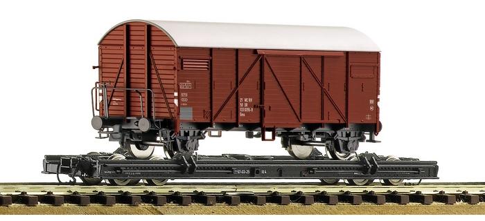 Train électrique : ROCO R34598 - Set wagons chassis + wagon couvert DR