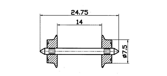 Essieux 7,5 mm, pour courant alternatif