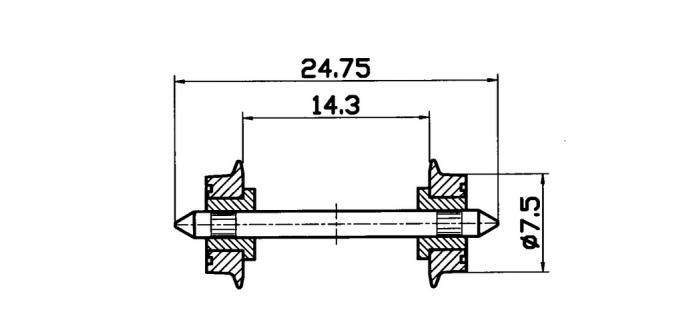 Essieux normalisé NEM, 7,5 mm