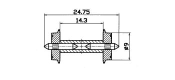 Essieux NEM 9 mm, avec roues séparées