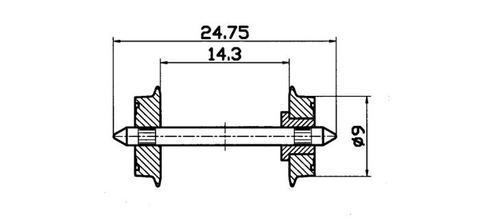 Essieux normalisés 9 mm isolés d'un seul coté