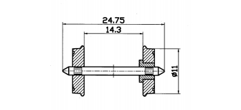 Essieux normalisés 11 mm isolés des deux cotés