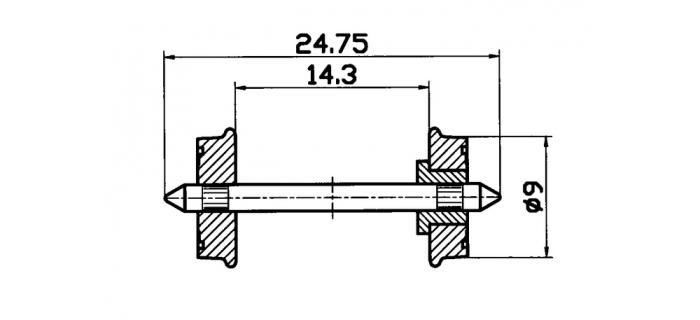 Essieux RP-25, 9 mm, isolé d'un seul coté