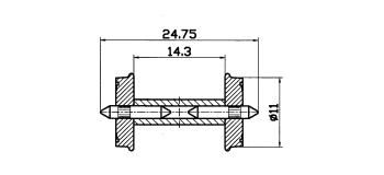 Essieux RP-25, 11 mm, à demi-axes isolés