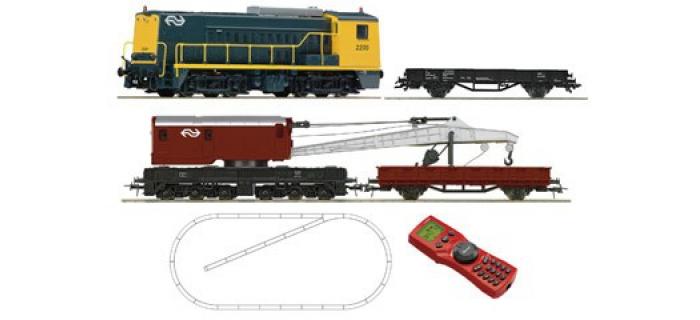 Modélisme ferroviaire : ROCO R41366 - Coffret numérique débutant : locomotive diesel série 2200 des NS avec un wagon grue