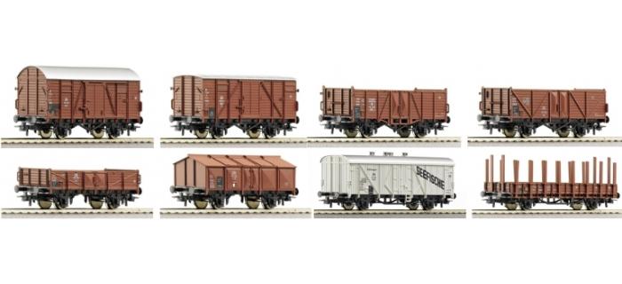 Coffret de 8 wagons à marchandises