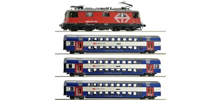 Modélisme ferroviaire : ROCO R61442 - Coffret train Locomotive électrique RE 420 des CFF avec un train de banlieue