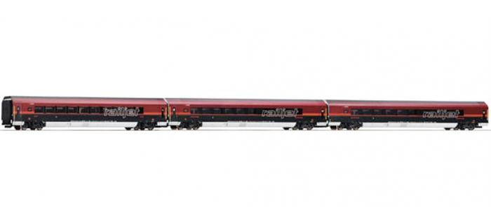 Train électrique : ROCO R64126 - Set 3 voit. RAILJET OBB spirit of Salzburg
