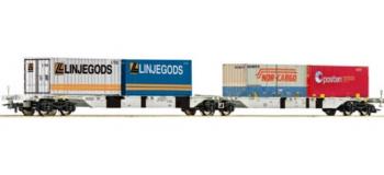 Modélisme ferroviaire - Wagon porte container double AAE