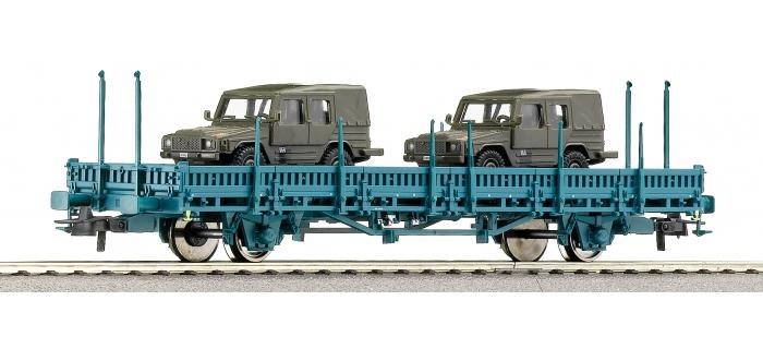 Roco 66777 - Wagon plat à ranchers avec 2 véhicules, SNCB