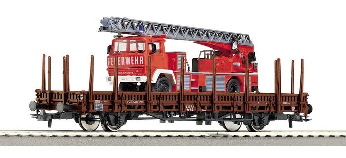 roco 66921 Wagon à ridelles avec camion pompier Magirus Deutz