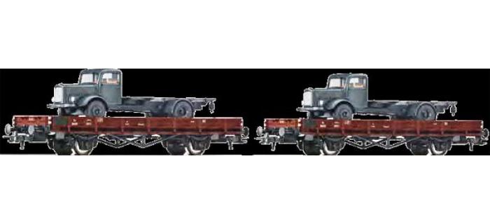 Train électrique : ROCO R67035 - Set 2 wagons plats camion DSB