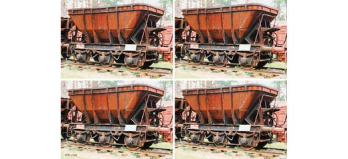 Train électrique : ROCO R67070 - Coffret 4 pièces : wagons minéraliers MAS 4 des SJ