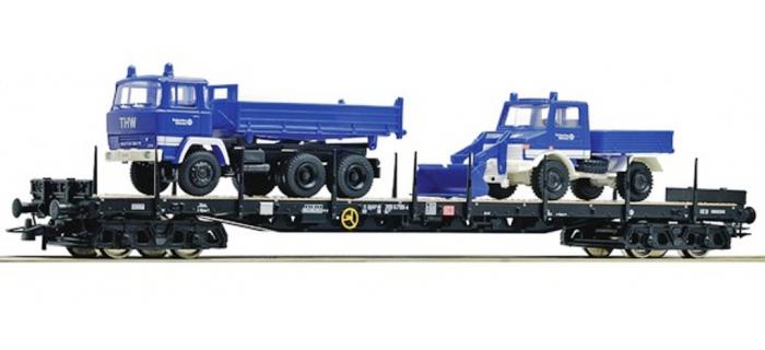Modélisme ferroviaire : ROCO R 67264 - Wagon plat + camions DB
