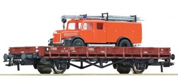 Train électrique : ROCO R67268 - Wagon plat + camion OBB
