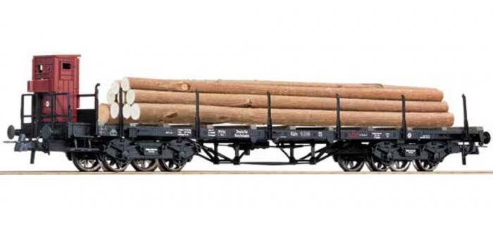 Modélisme ferroviaire - ROCO R67366 - Wagon plat + grumes DR