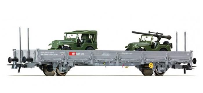Modélisme ferroviaire : ROCO R67424 - Wagon à ranchers des CFF avec deux jeep M38A1