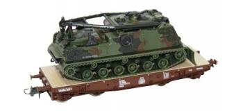 Train électrique : ROCO R67469 - Wagon plat + char OBB