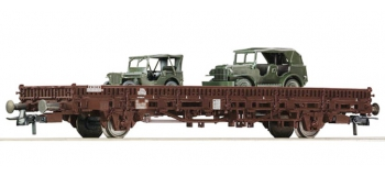 Train électrique : ROCO R67493 - Wagon plat + jeep Willis OBB.