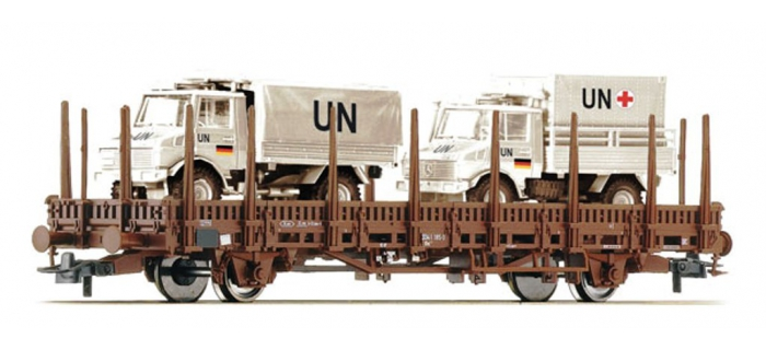 Train électrique : ROCO R67498 - Wagon plat + unimog UN DB