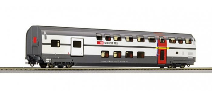 Modélisme ferroviaire : ROCO R64853 - Voiture 2 niveaux 1cl fourgon SBB
